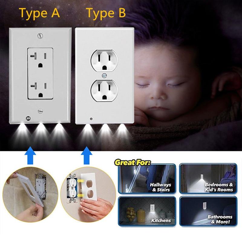 Plug Cover Led Night Light Pir Body Motion Sensor