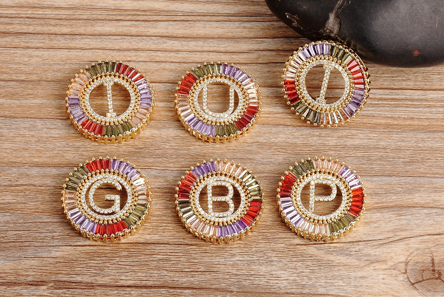 New Arrival Gold Color Micro Pave Rainbow CZ Cubic Zirconia A-Z Initials Letter Pendant Necklaces For Women Girls Fine Jewelry 8