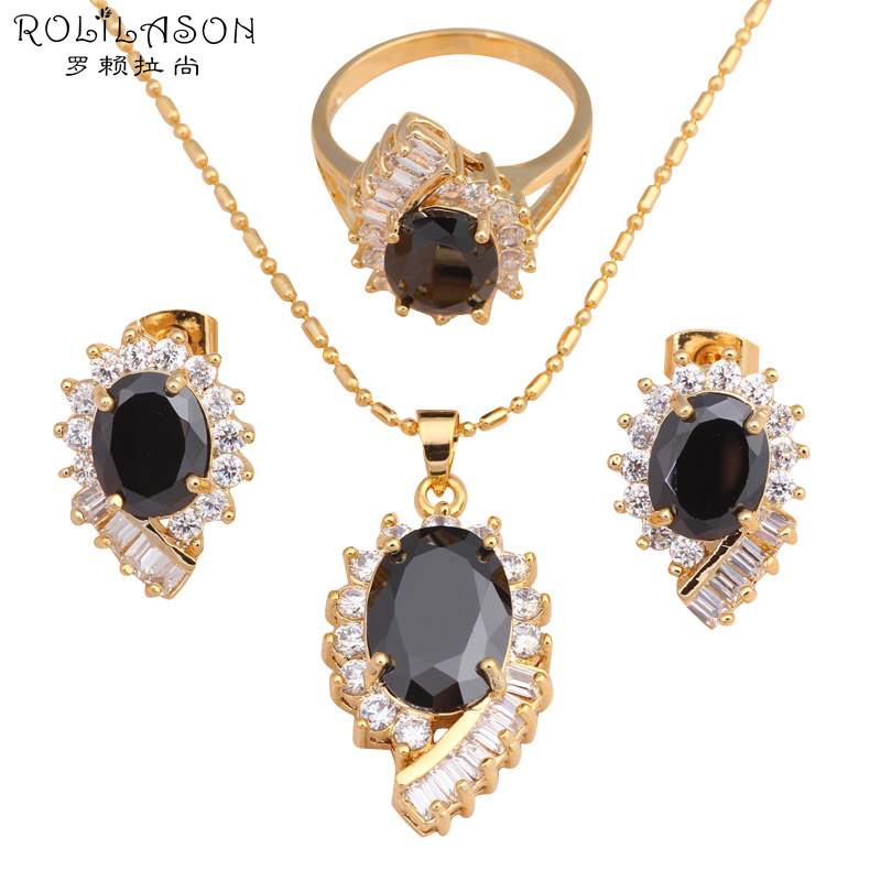 Delicate Black Crystal Inlay Cool Fashion Jewelry Set gold