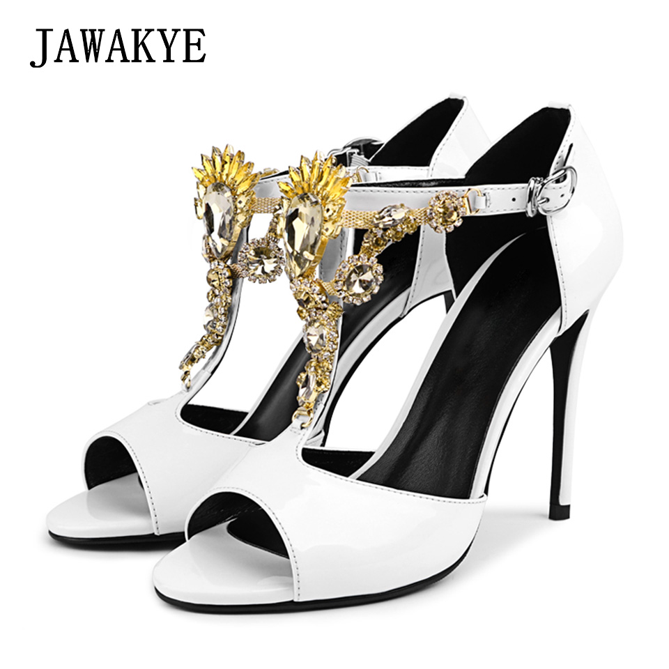 New Sexy Peep toe White High heel Sandals Women Fashion Rhinestone T Strap Jeweled Wedding Shoes ladies Crystal Party shoesNew Sexy Peep toe White High heel Sandals Women Fashion Rhinestone T Strap Jeweled Wedding Shoes ladies Crystal Party shoes