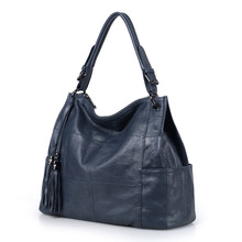 ¡Novedad de 2020! Bolso de mano suave de piel auténtica con borlas para mujer, bolso de hombro para mujer, bolso de mensajero, cartera, negro y gris