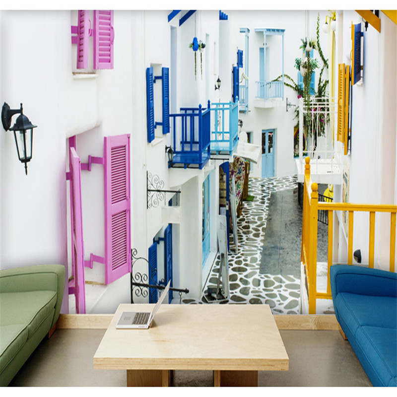 Custom 3d Photo Wallpaper Santorini Greece Mediterranean Landscape