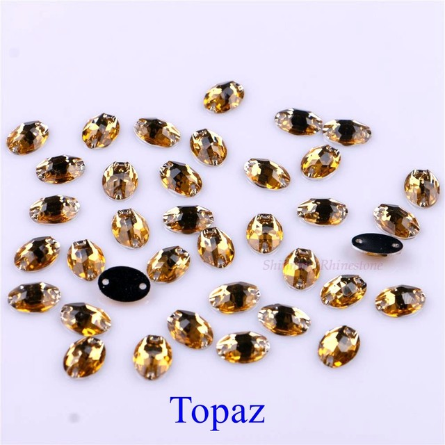 7x10mm Ellipse Shape Sew On Rhinestones Crystals Sewing On Oval Two Holes Resin Stones For DIY Garment 50 pieces/pack