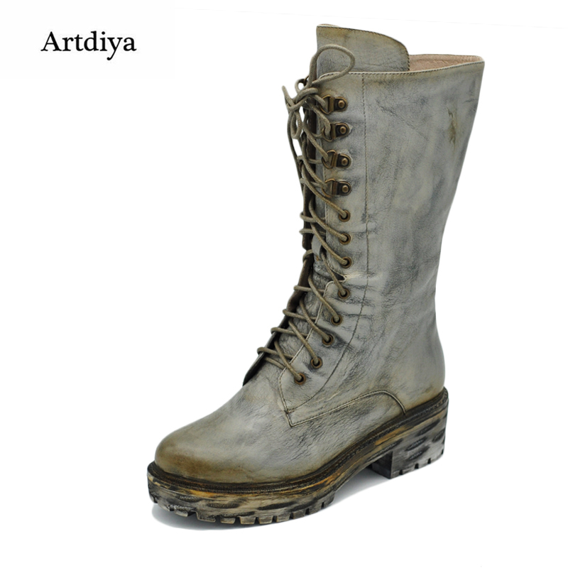 Original 2017 New Winter All-Match Handsome Boots thick Heels Female Waterproof Women Boots Vintage Handmade High Boots DS8B-6 irst layer of cowhide handsome female ankle boots fashion boots pull style all match elegant 6 8 5
