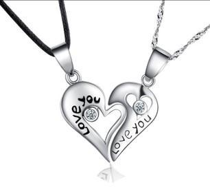 2017 hot sell love you lovers heart couple pendant 925 sterling silver fashion necklaces jewelry wholesale gift
