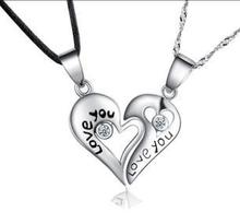 цена на Free shipping hot sell love you lovers heart couple pendant 925 sterling silver fashion necklaces jewelry wholesale