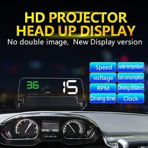 Image 5 - GEYIREN pantalla frontal de coche OBD2 con GPS HUD, proyector de velocidad para parabrisas, alarma de seguridad, temperatura del agua, exceso de velocidad, voltaje de RPM