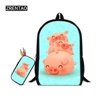 School Students Gifts Backpack Set For Primary Junior School Boys Girls Teenagers Bookbags Red/Pink/Green Cute Cartoon Satchel
