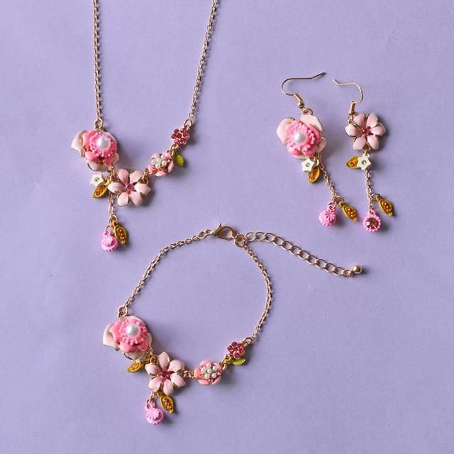 Dyxytwe Elegant Fashion Pink Flower Necklace Bracelet Bangles Earrings For Women Brand Party Jewelry