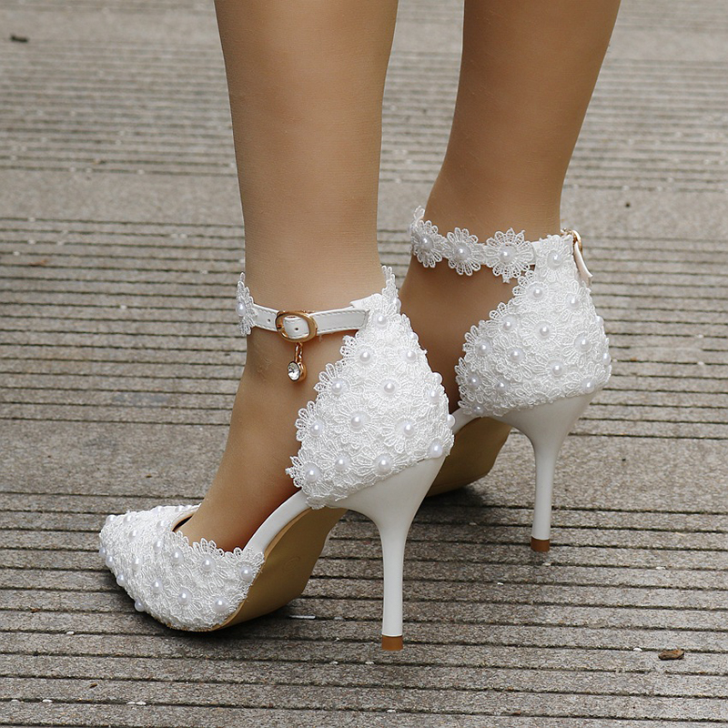 Wholesale White Lace Pointed Toe Bridal Dress Shoes Women Pumps Pointed Toe pompes pour femmes Ankle Straps bridesmaid Shoes-in Women's Pumps from Shoes    2