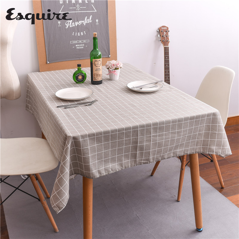 ESQUIRE Modern Tablecloths Minimalist Black And White Gray Plaid Table Cloth Hotel Tea Dining Table Cover Decoration