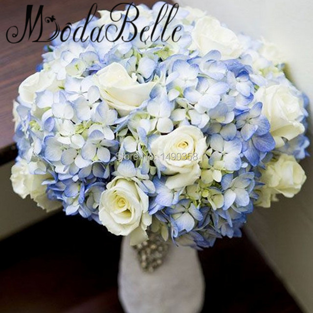 Blue Hydrangea Wedding Flowers: Custom Handmade Artificial Blue Ivory Wedding Bouquet