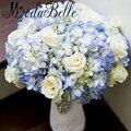 Personalizada Hecha A Mano Artificial Azul de Marfil de La Boda Ramo Nupcial de La Flor Hortensia Rosa Playa de dama de Honor Ramo de la Boda Ramo