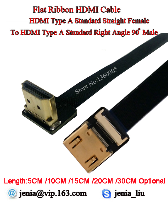 5/10/15/20/30CM Ultra Thin Soft Flexible HDMI Ribbon Flat Cable FPV Type A Straight Female To Male Standard Up Angled 90 Degree