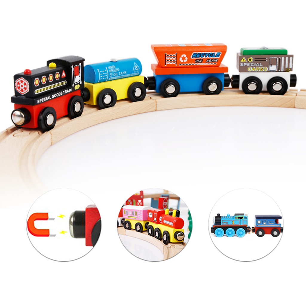 4PCS Wooden Magnetic Train Cars Set Engines + Carriage Vehicle Tracks Toy Railway Train Toy Railroad Set