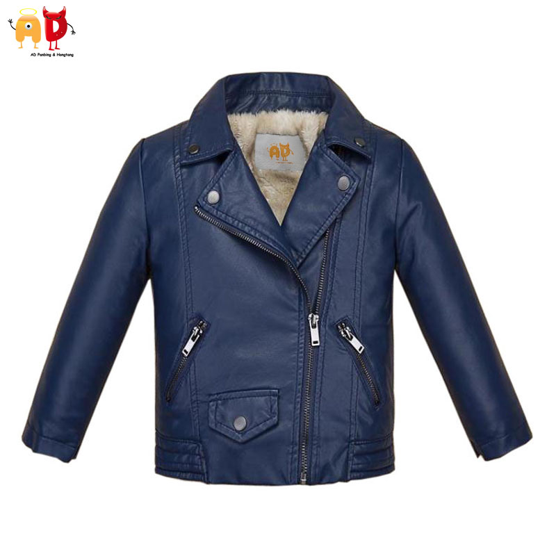 AD Warm Fleece Boys Leather Jacket for Winter Quality Breathable Space Leather Winter-proof Water Resistant Girls Coat Outwear assassin s creed brotherhood final faith black flag unity desmond thick fleece men boys outwear winter warm hoodie coat jacket