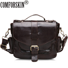 COMFORSKIN Messenger Bag Men Leather Luxurious 100% Genuine Bags 2018 Hot Sales Vintage Style Male