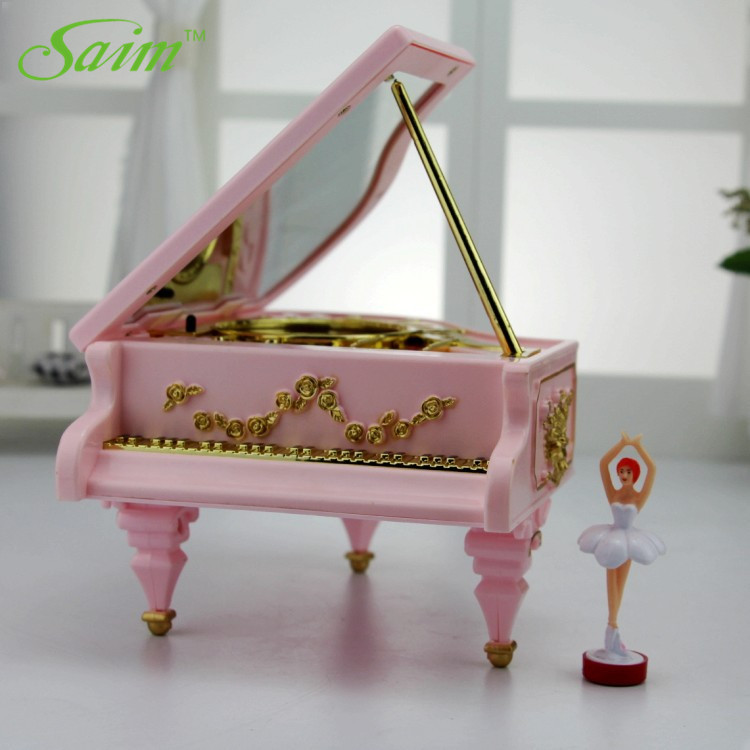 Saim Piano Music Box LED Lights Music Jewelry Boxes Rotating Ballet Girl Music Box Rose Musical