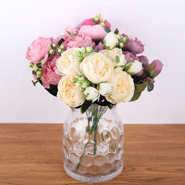30cm Rose Pink Silk Bouquet Peony Artificial Flowers 5 Big Heads 4 Small Bud Bride Wedding Home Decoration Fake Flowers Faux 4