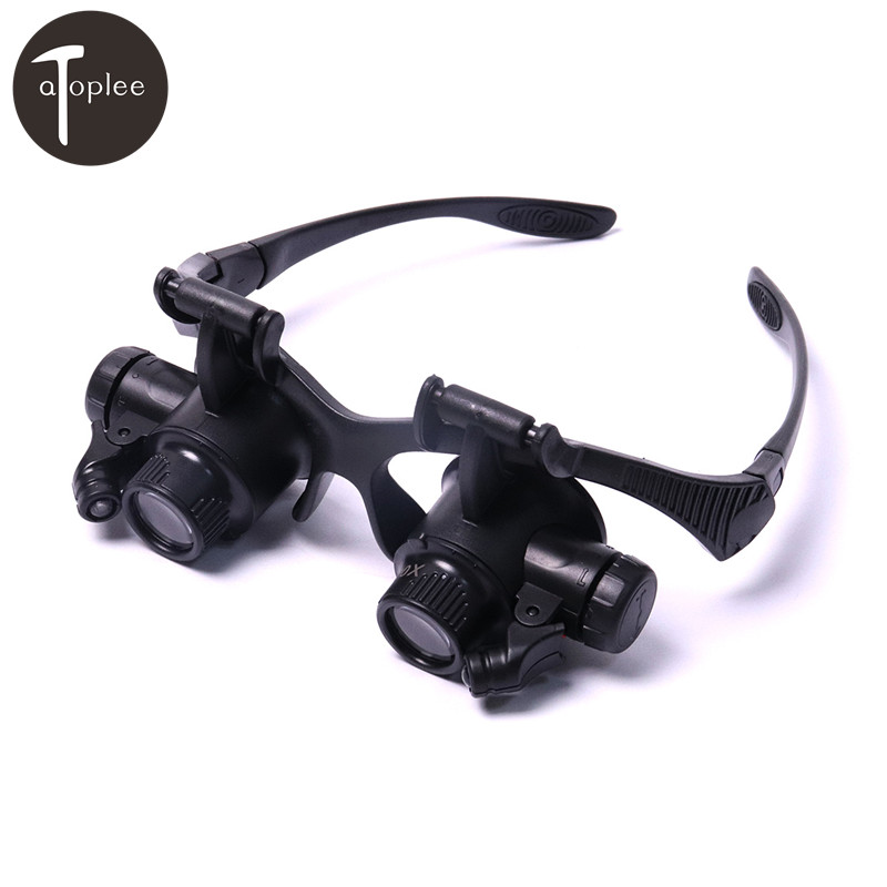 1PC 20X Magnifier Magnifying 150x85x45mm Adjust Eye Glasses Loupe Lens Jeweler Watch Repair 2 LED Light 20x mini jeweler eye loupe magnifier magnifying glass for jewelry diamond 20 x 21mm