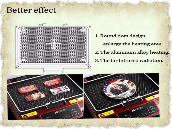 Tamanho de vidro 30x42x11 cm da impressão da caixa do telefone canecas da sublimação da transferência da máquina da imprensa térmica da sublimação do vácuo 3d multi funcional - 6