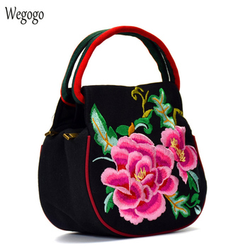 New Women Handbag Embroidery Bag National Floral Embroidered Bags Ladies Double Zipper Black Travel Bag Woman Small Totes women floral embroidery bag ladies black crossbody totes canvas three zipper travel beach phone coin bags shoulder messenger bag