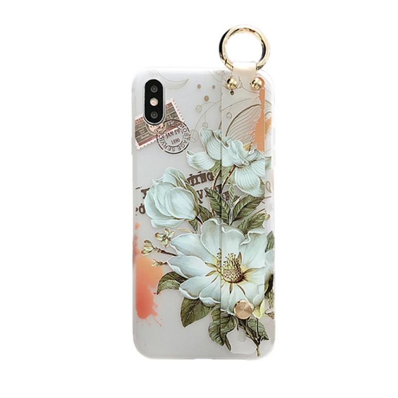 Image 5 - Kwiat wzór miękkie silikonowy pasek na nadgarstek uchwyt na telefon dla iphone X Xs max XR 6 6 S plus etui na telefony pokrywa Coque dla iphone 7 8Dopasowane obudowy   -