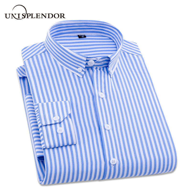 2019 Men Striped Long Sleeve Shirt Mens Dress Shirts Spring Autumn Camisa Masculina Brand Man Top Casual Male Shirt Tops YN10370