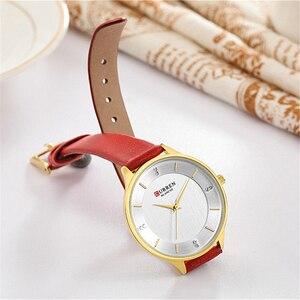 Image 5 - Montres pour femmes Top marque CURREN strass femmes bracelet avec cuir dames robe montre femme horloge Relogio Feminino