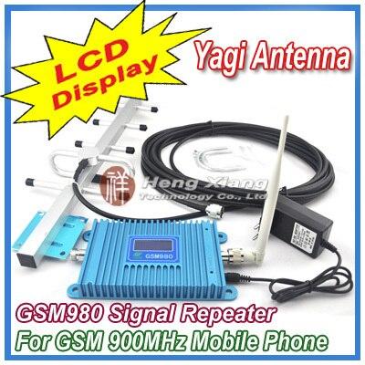 Жк-дисплей GSM 900 мГц мобильный телефон GSM980 усилитель сигнала, Сотовый телефон GSM сигнала + 9 дБи 5 шт. яги антенна + кабель
