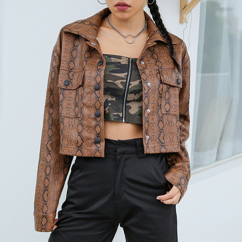Rockmore Winter Faux   Leather   Jacket Women Snake Printed Warm Coat Pockets Button Turn-down Collar Long Sleeve Crop Top Jacket