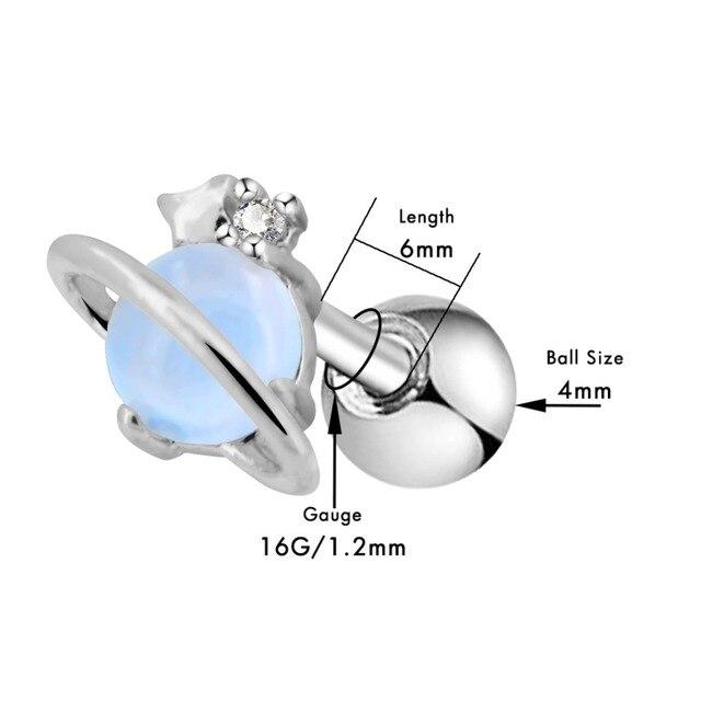 Серьги гвоздики женские из хирургической стали с голубым опалом