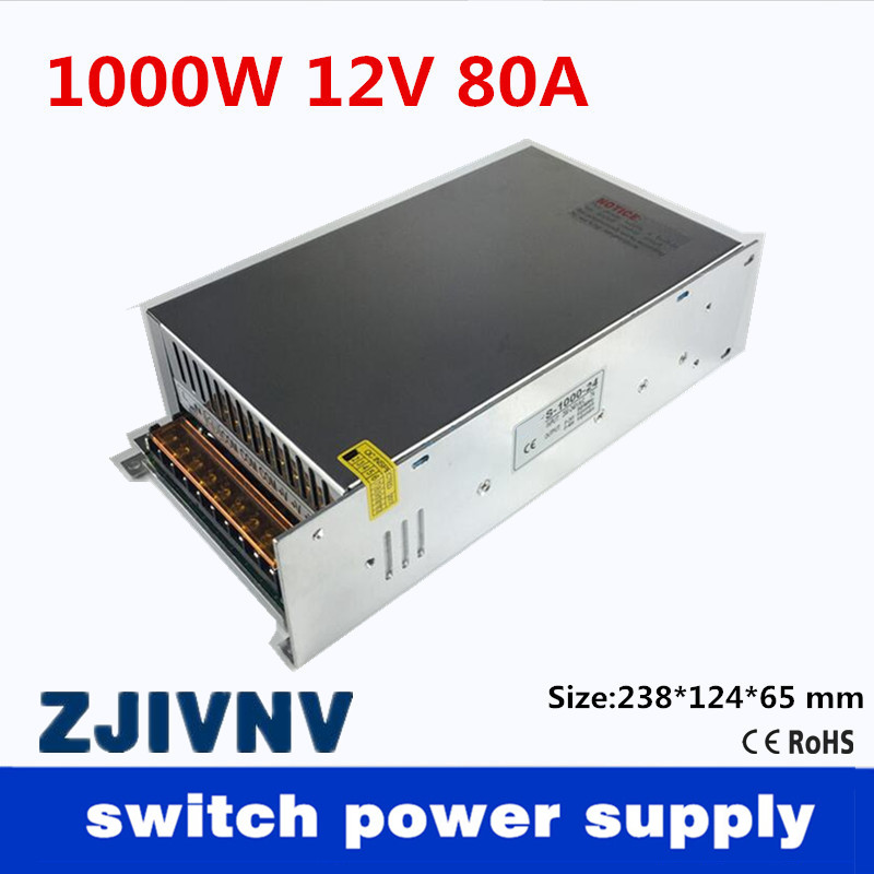 Small Volume Single Output 1000W 12V 80A Switching Power Supply Transformer AC110V or 220V TO DC SMPS for LED Light CNC Stepper sayoon dc 12v contactor czwt150a contactor with switching phase small volume large load capacity long service life