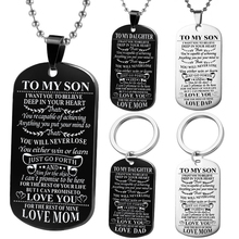 Customed Halsketten Hund Tags Dad's mom Zu Sohn's daugthter Anhänger Personalisierte Halskette Metall military Dog tag Gravur Stahl geschenk(China)
