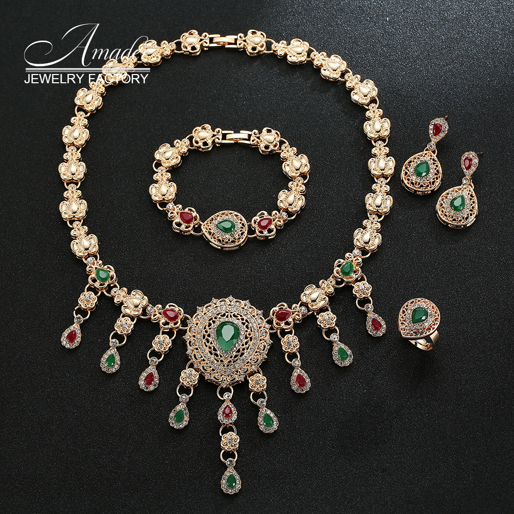 Latest Indian Gold Jewellery Sets Designs For Bridal 2016: From India Gold Plate Wedding Jewelry Set 2016 New Design