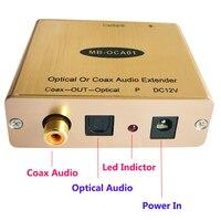 Digital Optical Toslink S PDIF Coax Fiber Optic Audio Extender Over Cat5e 6 Up TO 500ft