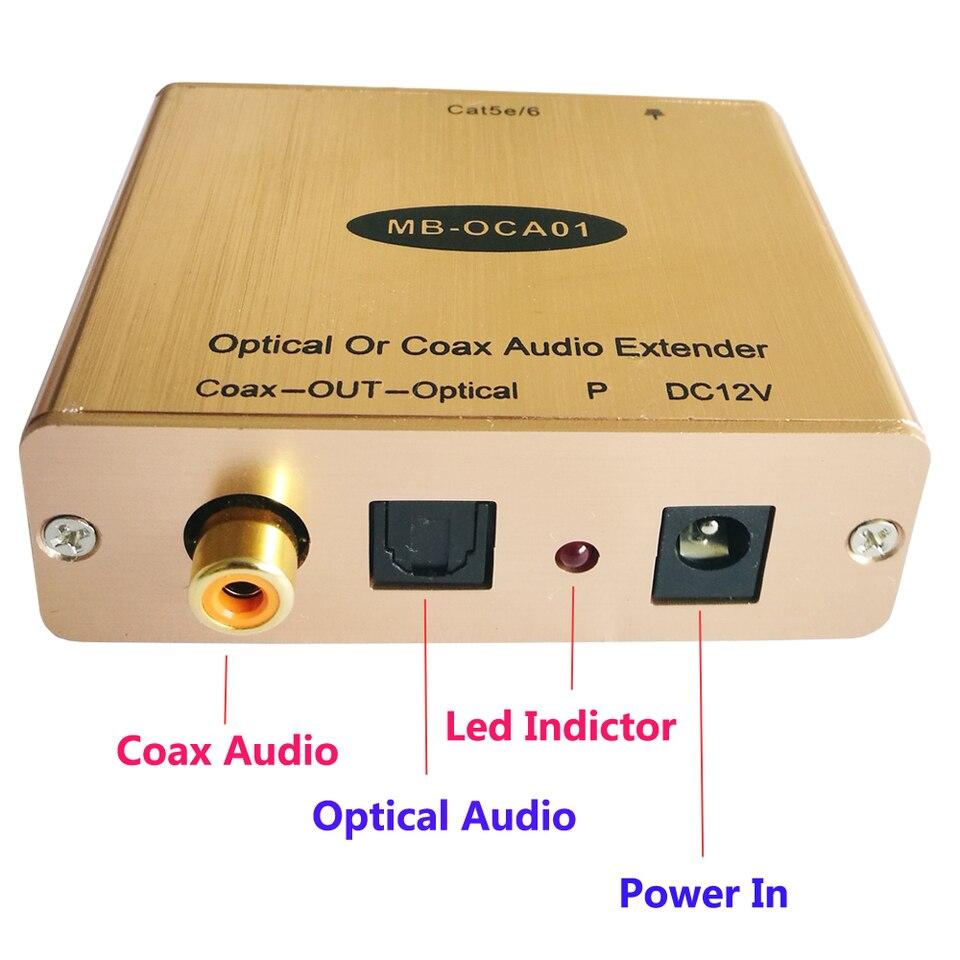 Digital Coax SPDIF Optical Audio Over CAT5//6 Extender Kit Max 150m 500FT