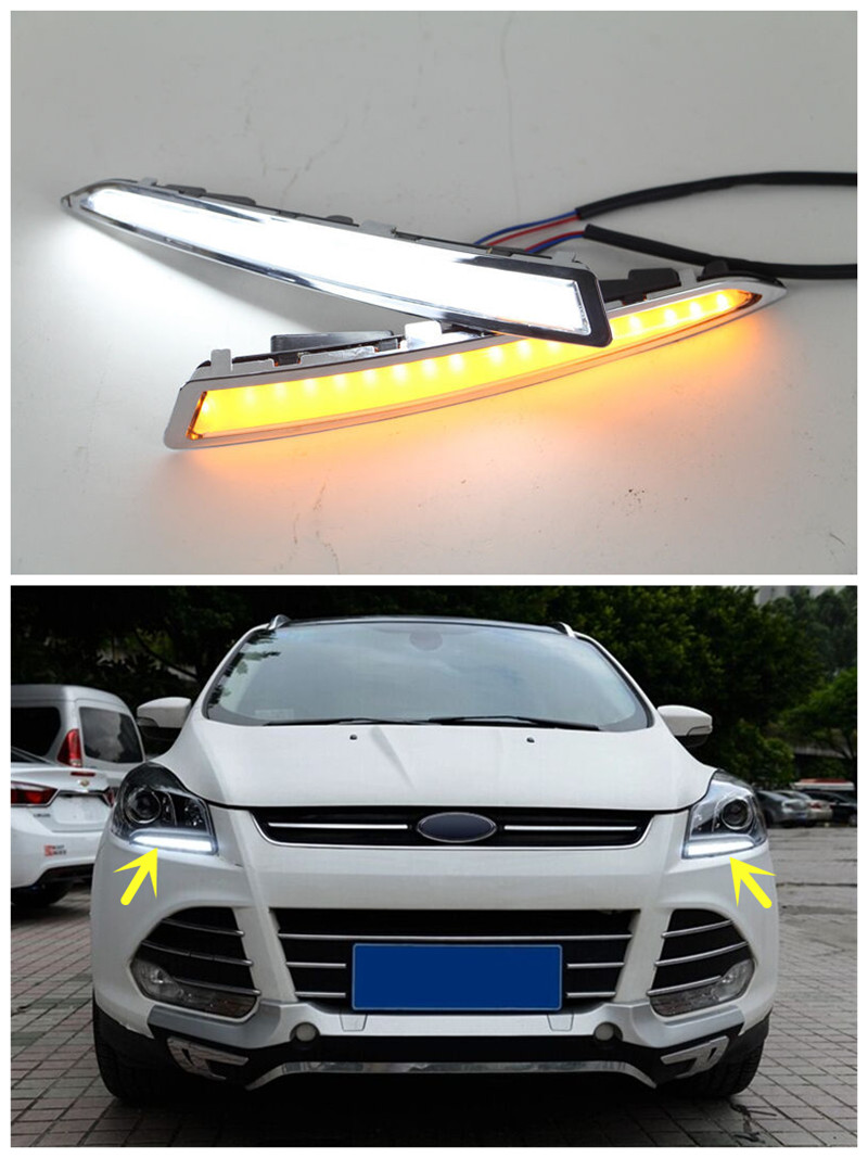 LED DRL Daytime Running Light Fog Lamp With Turn Signal Light For Ford Kuga Escape 2013 2014 2015 2016 стоимость