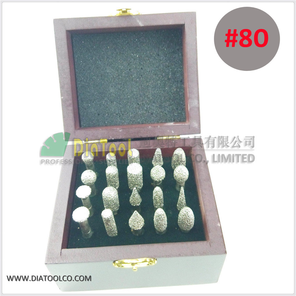 20pcs/set #80 Diamond brazed burrs for stone, concrete, ceramic, Cylinder with flat end, Diamond grinding head, engraving bits