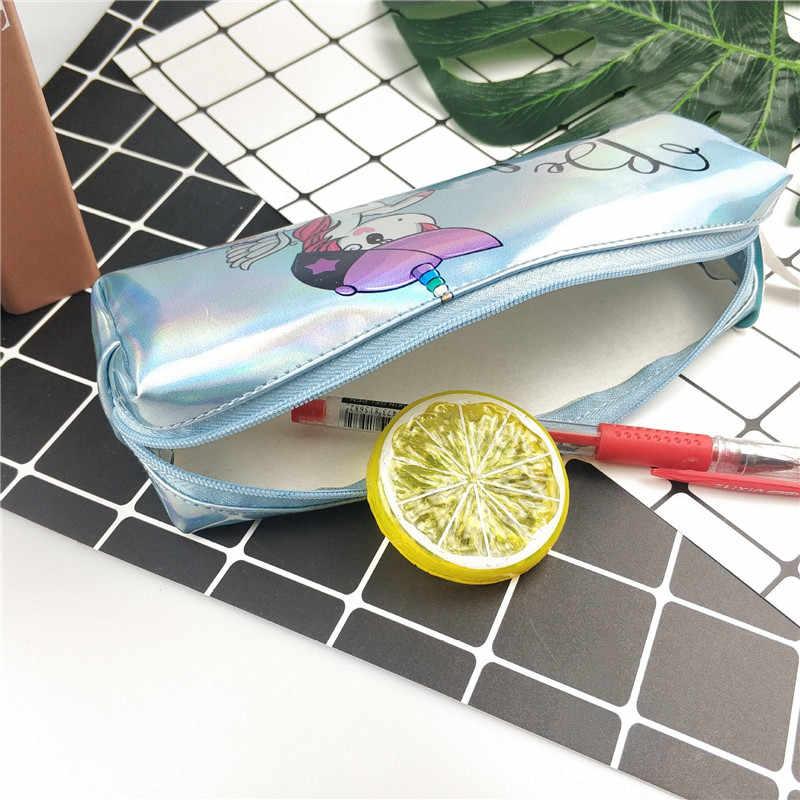 Wysokiej jakości opalizujący Laser piórnik szkoła dostaw duża pojemność śliczne Flamingo Unicorn wzór ołówek Bag szkoła przypadku