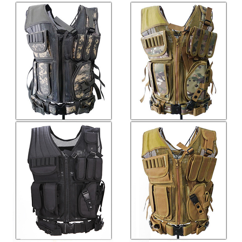 4 Colors Camouflage Mesh Military Tactical Hunting Vest Wargame Body Molle Armor Hunting Accessories Vest CS Outdoor Equipment accessories bag quick tug tactical vest accessory box page 4