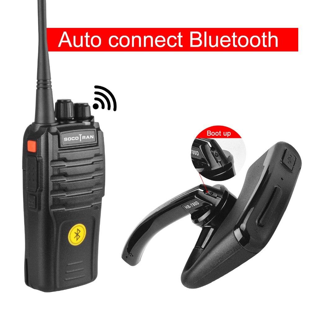 2 pièces SocoTran Bluetooth Talkie-walkie VOX Portable UHF 400-480 MHz Bidirectionnel Radio Woki Toki avec Bluetooth sans fil casque Radio