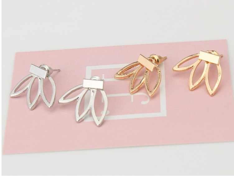 2017 Punk Gold Silver  Simple Hollow Earrings Flowers For Women Girl Ear Stud Earrings Fine Jewelry Brincos Bijoux Femme