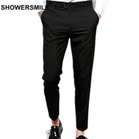 SHOWERSMILE Black Slim Fit Dress Pants Man Spring Autumn Ninth Pants British Style Plus Size Suit
