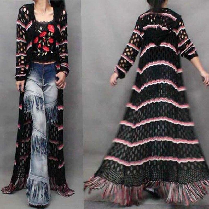 무료 배송 2019 패션 긴 맥시 유럽 여성 스웨터 할로우 아웃 스트라이프 트렌치 후드 tassels outerwears 긴 소매-에서가디건부터 여성 의류 의  그룹 1