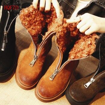 HQFZO повседневное теплый плюш зимние женские ботинки женские мягкие удобные на молнии зимние туфли на платформе женские из флока chaussures botas