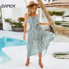 2019 New Summer Fashion Women Sexy Strapless Printing Striped Bohemian Style Beach Dress
