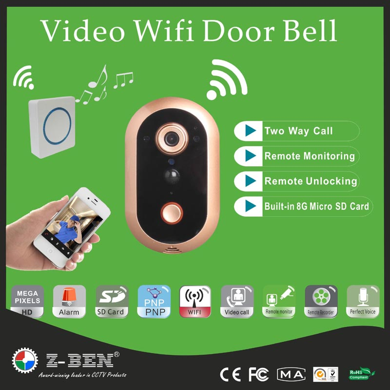 Z-BEN Hot Wireless WIFI Doorbell Video Door Bell Phone Security Surveillance Door Camera Monitor Viewer Support IOS Android Ipad maifeini new genuine leather long wallet women real leather card holder coin purse 2017 sexy ladies bifold leather clutch bag