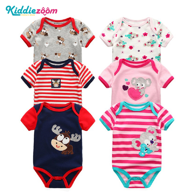 9ac956322005 6PCS Kiddiezoom Brand Baby Bodysuits Cotton Baby Girls Boy Clothing ...