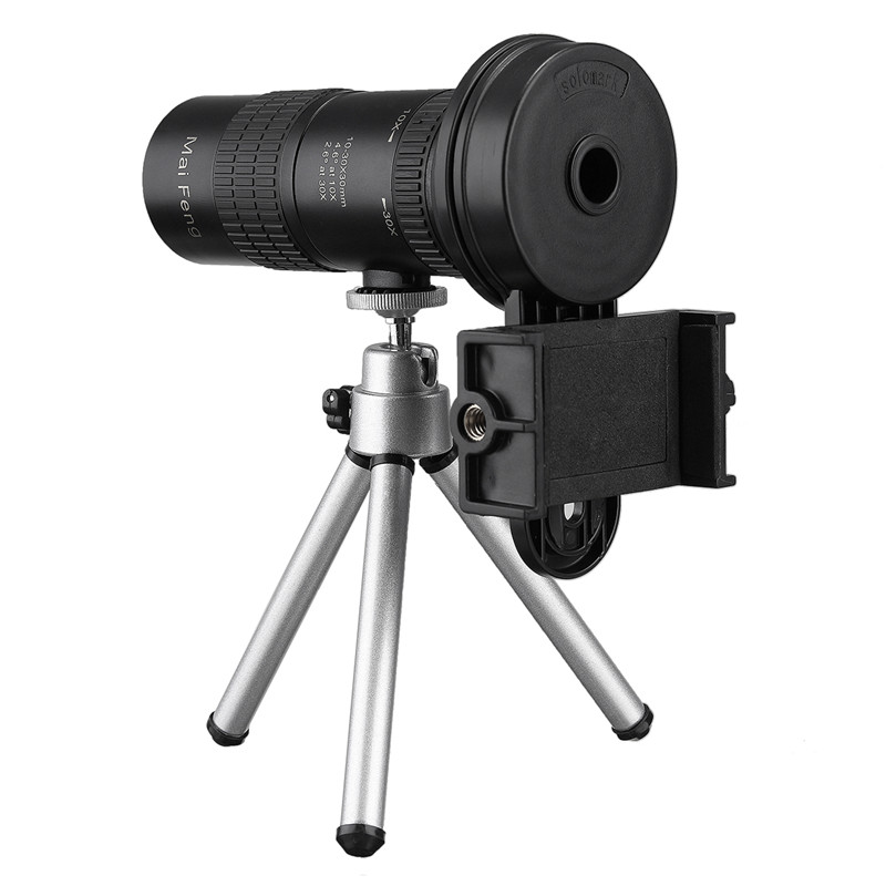 High Quality 10-30x HD Telephoto Telescope Monocular Camera Lens with Cell Phone Clip Tripod Stand Night Vision WaterproofHigh Quality 10-30x HD Telephoto Telescope Monocular Camera Lens with Cell Phone Clip Tripod Stand Night Vision Waterproof